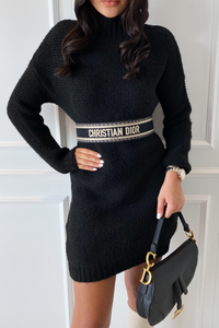 BILLIE Black Turtle Neck  Knitted Jumper Dress