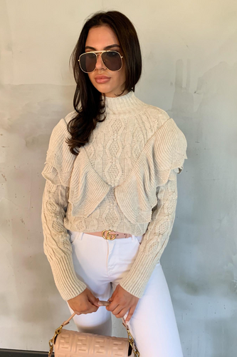 CARMEL Beige High Neck Knitted Ruffle Jumper