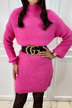 Load image into Gallery viewer, BILLIE Pink Turtle Neck  Knitted Jumper Dress