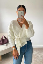 Load image into Gallery viewer, CHARLIE Cream Tie Front Wrap Cardigan Jumper