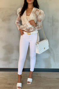 LUELLA White Pattern Sheer Puff Shoulder Top