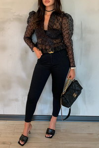LUELLA Black Pattern Sheer Puff Shoulder Top