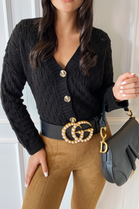 RACHEL Black Cropped Cardigan