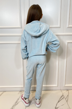 Load image into Gallery viewer, Mini SUGAR Blue Toweling Hooded Loungewear Set