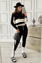 Load image into Gallery viewer, ARIA Black And Cream Knitted Contrast Stripe Zip Front Loungewear Set