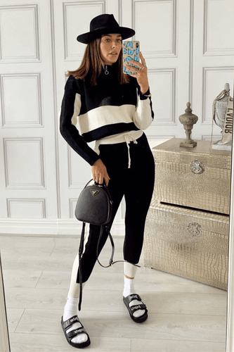 ARIA Black And Cream Knitted Contrast Stripe Zip Front Loungewear Set
