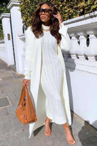 CARLA Cream Maxi Cardigan And Dress Knitted Set