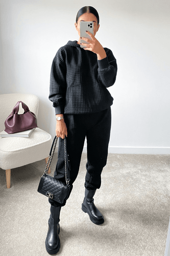 COCO Black Waffle Texture Hooded Loungewear Set