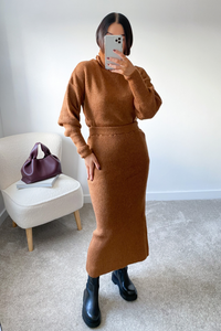 NADA Camel Roll Neck Jumper And Skirt Co-Ord