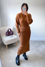 Load image into Gallery viewer, NADA Camel Roll Neck Jumper And Skirt Co-Ord