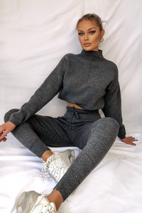 KELSEY Charcoal High Neck Fitted Lounge Set