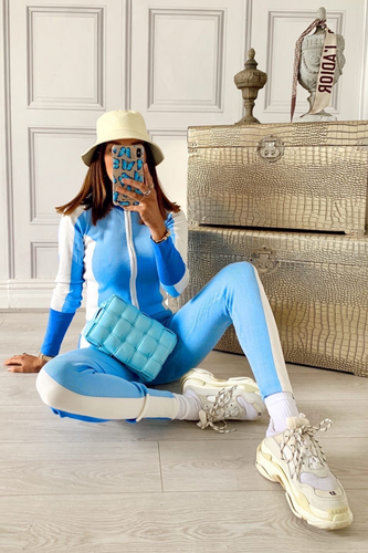 PORTIA Blue And White Contrast Stripe Knitted Zip Lounge Set