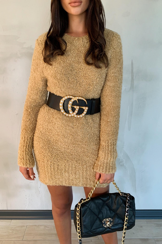 CARA Camel Knitted Jumper Dress