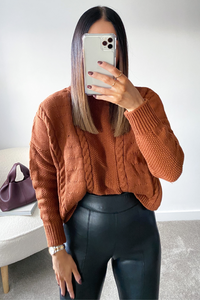 PIPER Camel Cable Knit Turtle Neck Jumper