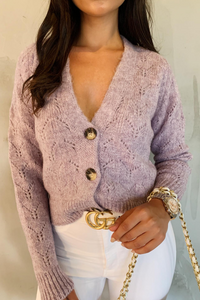 INDIA Lilac V Neck Buttoned Knitted Cardigan