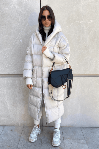 NICOLE Cream Oversized Hooded Padded Coat