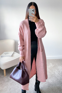 LUCY Pink Knitted Bell Sleeve  Maxi Cardigan