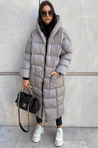 NICOLE Grey Oversized Hooded Padded Coat