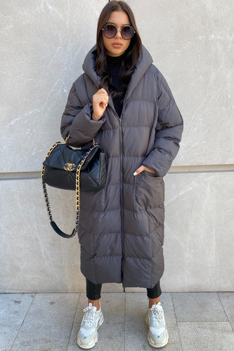 NICOLE Charcoal Hooded Long Padded Coat