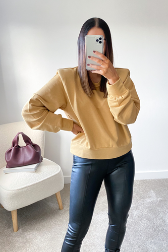 STEPH Mustard Bold Shoulder Long Sleeve Top