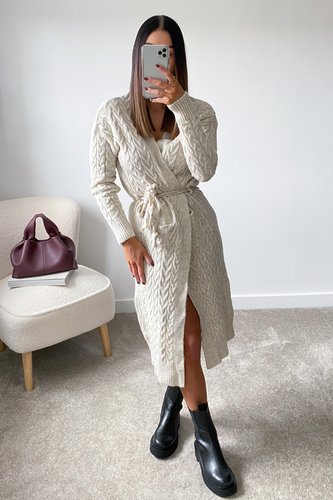 LORNA Cream Rope Belted Midi Cardigan