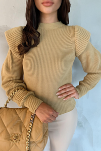 LILLIE Camel Bold Shoulder Knit Jumper