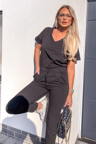 Stella Black V Neck Loungewear Set