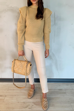 Load image into Gallery viewer, LILLIE Camel Bold Shoulder Knit Jumper