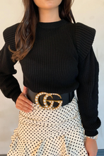 Load image into Gallery viewer, LILLIE Black Bold Shoulder Knit Jumper