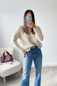 PIPER Beige Cable Knit Turtle Neck Jumper