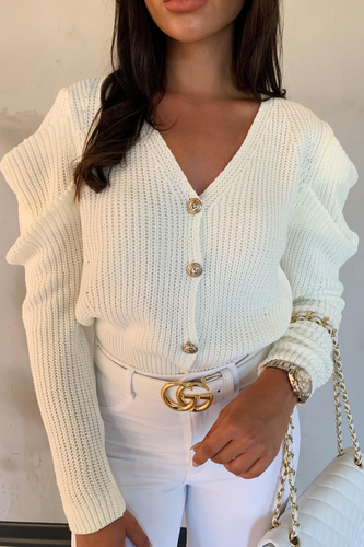 BRITNEY White Puff Sleeve Knitted Cardigan