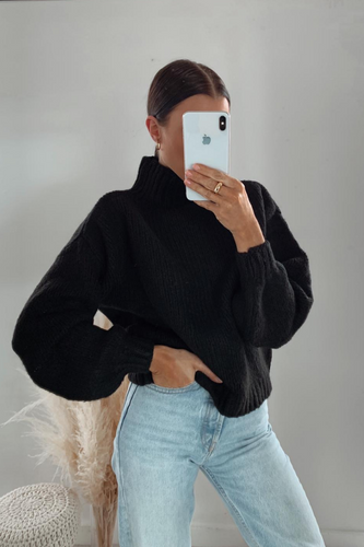 PERRY Black High Neck Knitted Jumper