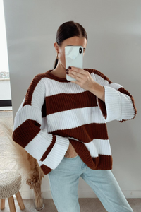 KARA Camel and Cream Striped Jumper