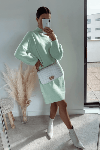 AMBER Mint Turtle Neck Balloon Sleeves Jumper Dress