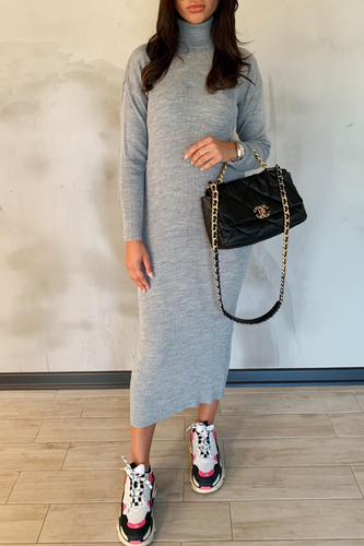 SHONI Grey Turtle Neck Long Sleeve Ribbed Maxi Dress