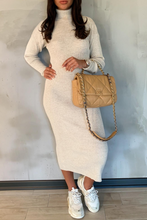 Load image into Gallery viewer, SHONI Cream Turtle Neck Long Sleeve Ribbed Maxi Dress
