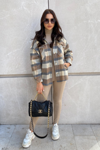 Load image into Gallery viewer, KATE Camel Checkered Long Sleeve Shacket