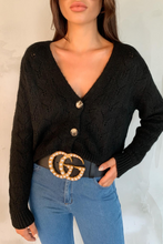 Load image into Gallery viewer, INDIA Black V Neck Buttoned Knitted Cardigan