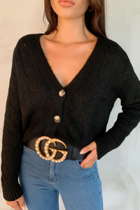 INDIA Black V Neck Buttoned Knitted Cardigan