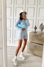 Load image into Gallery viewer, SIENNA Powder Blue Cable Knitted Short Loungewear Set