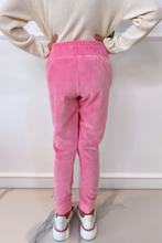 Load image into Gallery viewer, Mini CLAUDIA Pink High Waisted Toweling Joggings