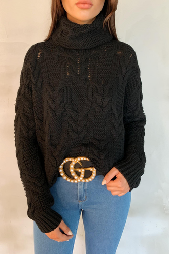 CELINA Black Roll Neck Oversized Knitted Jumper