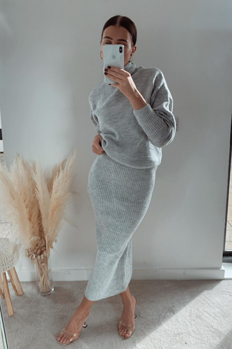 NADA Grey Roll Neck Jumper And Skirt Co-Ord