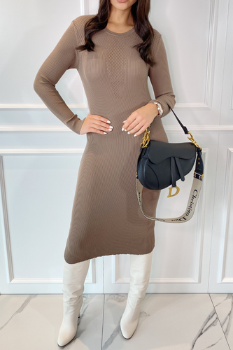 JASMIN Mocha Mesh Knit Detail Knitted Dress