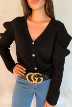 Load image into Gallery viewer, BRITNEY Black Puff Sleeve Knitted Cardigan
