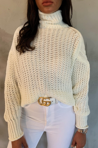 BEAU Cream High Neck Knitted Jumper