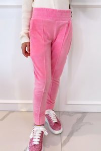Mini CLAUDIA Pink High Waisted Toweling Joggings
