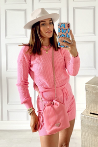 SIENNA Pink Cable Knitted Short Co-ord Loungewear Set
