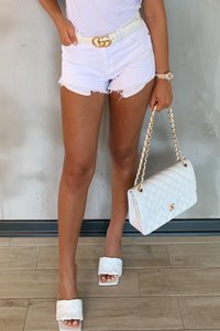 ZARAH White Distressed Booty Shorts