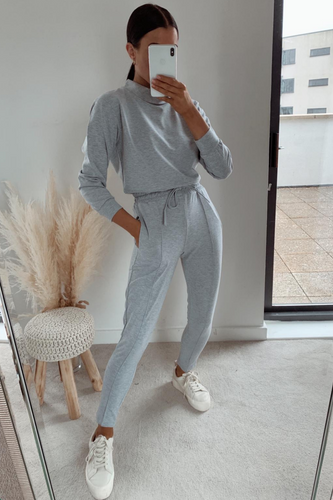 PASTELLE Grey High Neck Pin Stripe Loungewear Set